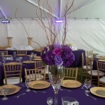 Small silk centerpiece purples and branches