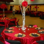 Red silk flowers Balls with silver branches