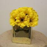 Small yellow Gerber daisy centerpiece