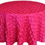 Rosette satin tablecloths rentals-fuchsia