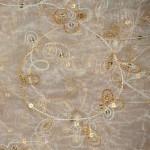 Flower sequined organza tablecloths rentals - Gold