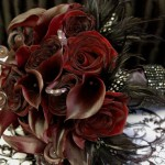 Burgundy and black feathers bridal bouquet