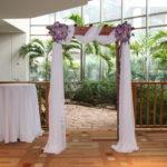 Weddings Ceremonies purple double flowers arch