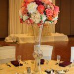silk Centerpiece peach and sangria