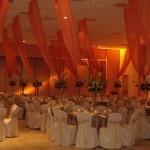Orange fabric drape for quince