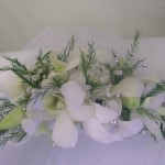 hair flower comb with white orchids