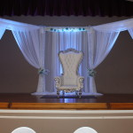 stage decorations white and turquoise