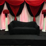 Red,white and black Backdrop stage