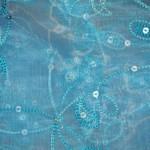 Flower sequined organza tablecloths rentals -Aqua