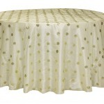 Sequin embroidery taffeta tablecloth rentals - Ivory