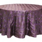 Sequin embroidery taffeta tablecloth rentals - Plum