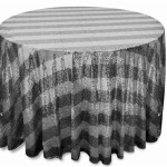 Glitz sequins tablecloths rentals Stripped silver and black