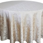 Versailles jacquard damask tablecloth rentals -Champange